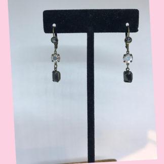 Smoky Quartz and Crystal Dangle Earrings