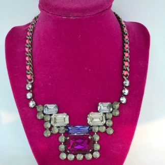 Crystal chunk statement necklace