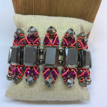 LK Fuschia and Smoky Crystal Bracelet