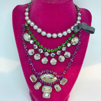 LK Fuschia Crystal and Pearl Necklace