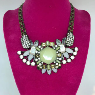 LK Green Crystal Chain Necklace