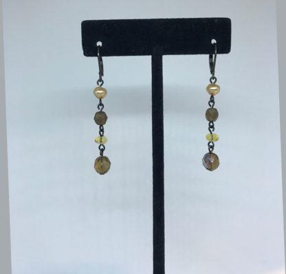 Mariana Pearl and Smoky Dangle Earrings