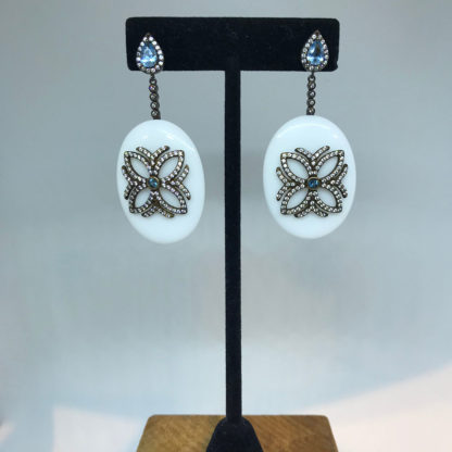 P&K Crystal and White Dangle Earrings