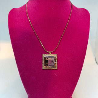 Gold Pink Crystal Square Necklace