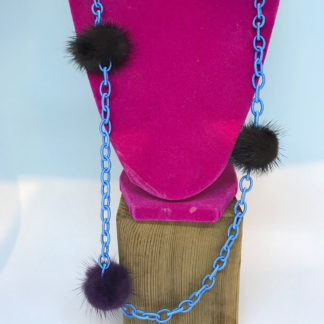 Roxalena Blue Chainlink w/Fur Necklace