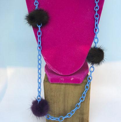 Roxalena Blue Chainlink w/Fur Necklace