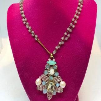 Rush Aqua Peach and Pearl Necklace