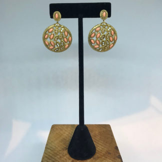 Sorrelli Gold Coral and Crystal Earrings