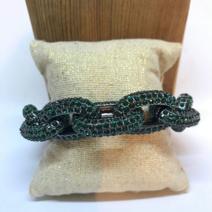Green crystal chainlink bracelet